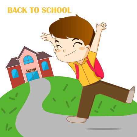 Boy feeling happy to going back to school