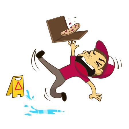 Pizza boy slipping on wet floor vector illustration Vettoriali