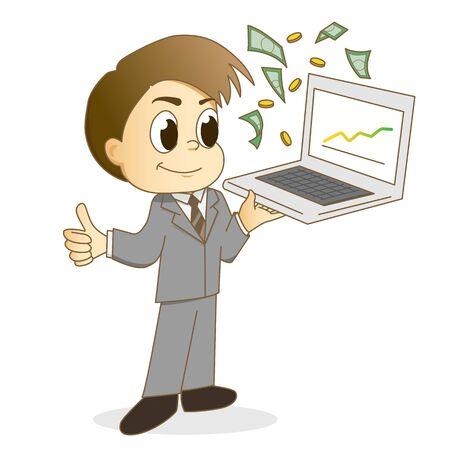 Handsome businessman using a laptop for make money