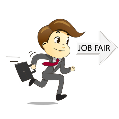 career fair: Happy businessman running with briefcase to job fair vector illustration