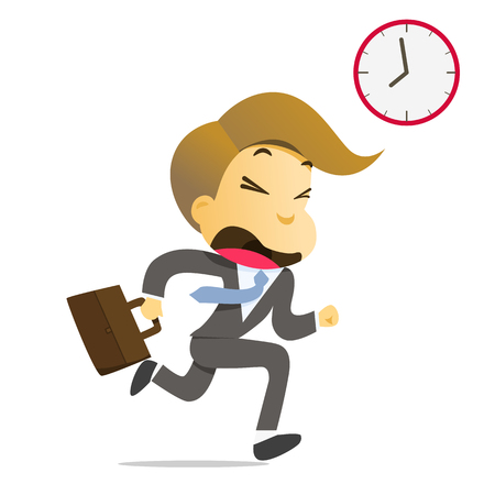 Businessman running with briefcase late to work Stock Illustratie