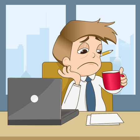 Boring businessman drink coffee in office - vector illustration