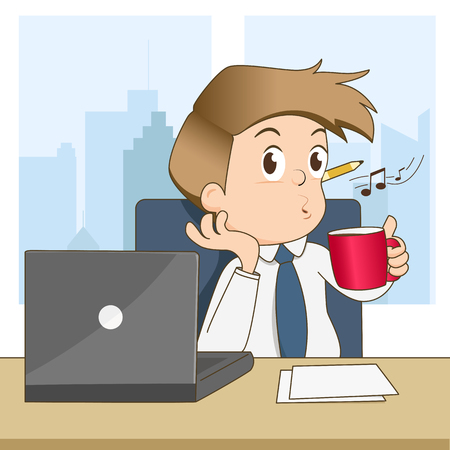 Happy businessman whistling and drink coffee in office - vector illustration Stock Illustratie