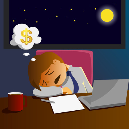 Salary man working overtime and sleep on desk at the office Stock Illustratie