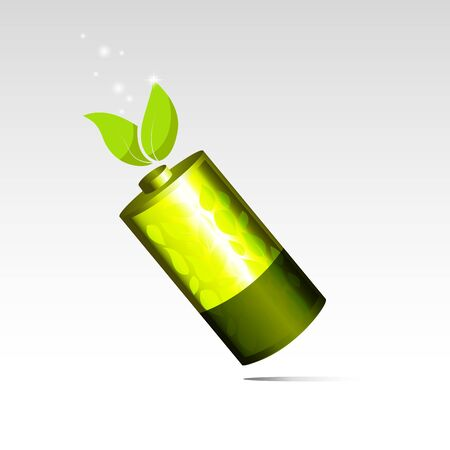Eco energy, Battery with green leaf