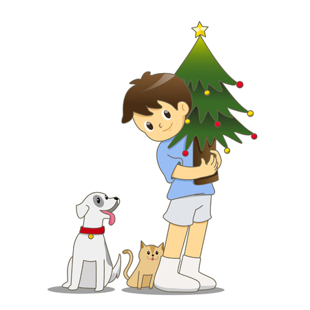 Little boy with cat and dog holding Christmas tree Stock Illustratie