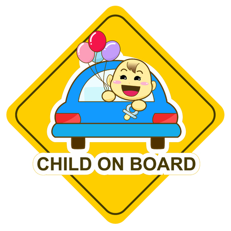 Baby on board sign, happy baby holding balloon in the car illustration.
