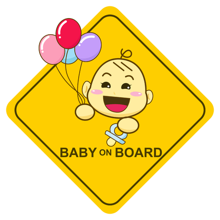 Baby on board sign, Baby smiling and holding balloon
