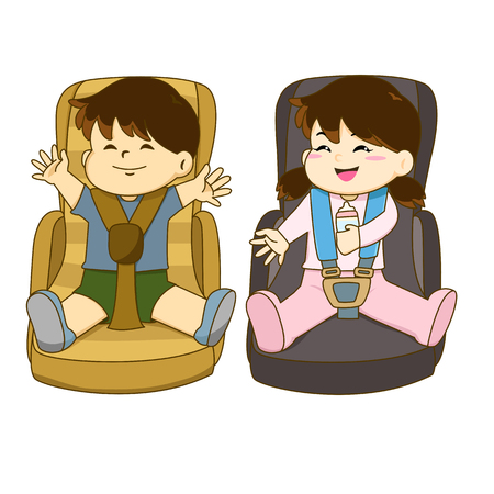 Vector of boy and girl sitting on car seat wearing seat belt