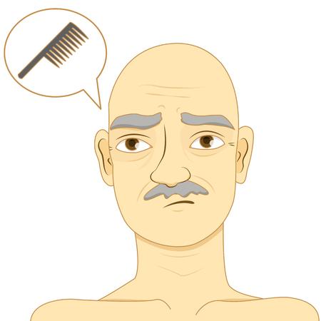 Bald man think of using comb Vetores
