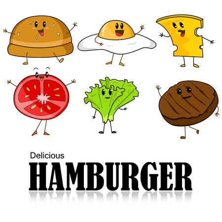 Cartoon of Hamburger, bread, meat, slice tomato, cheese, lettuce and fried egg. Vector illustration  on white background.