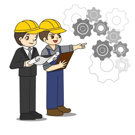 Professional engineer discuss about blueprint paper with foreman