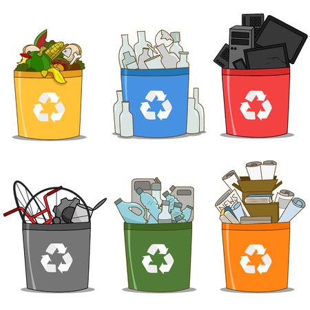 Bunter Papierkorb aus Bio, Glas, Elektroschrott, Papier, Kunststoff und Metall. Recycling-Konzept