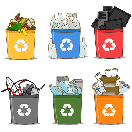 Kolorowy kosz na śmieci organiczny, szklany, e-śmieci, papier, plastik i metal. koncepcja recyklingu