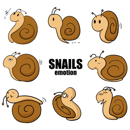 Set of isolated little snails cartoon emotion