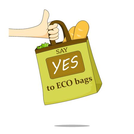 The hand holding canvas bag. Environmental Protection