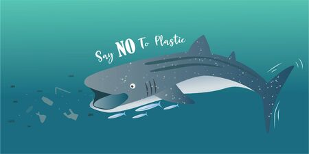 Whale shark eating pieces of plastic, Say No To Plastic Concept