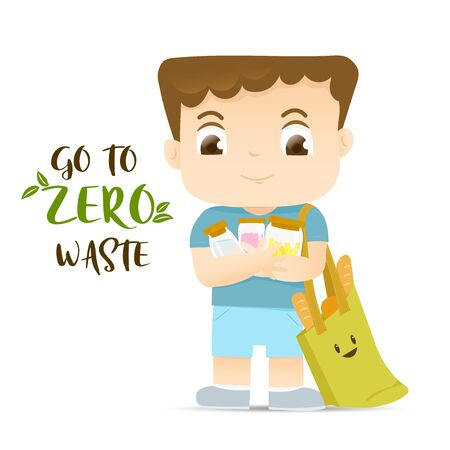 The boy holding glass bottles and use ECO bag for his lifestyle, Go to zero waste concept