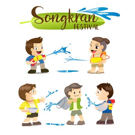 Songkran Festival, Thai New Year's national holiday, People spray water from water pistols and buckets.