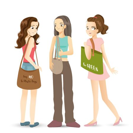 Modern girls holding canvas fabric bag for shopping isolated on white background