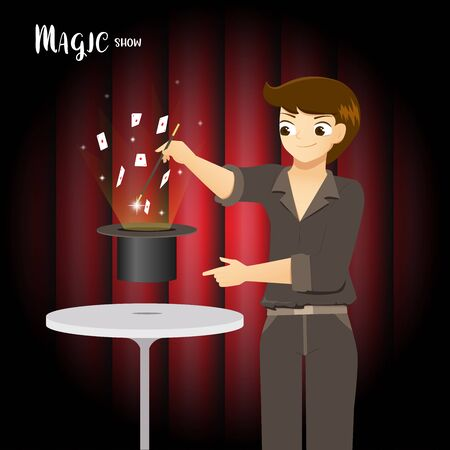 Magician making trick with a wand and playing cards performance on a stage Stock Illustratie