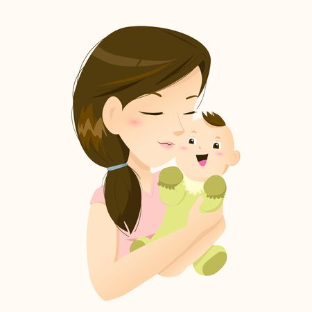 Beautiful mother holding her little baby with love Stock Illustratie