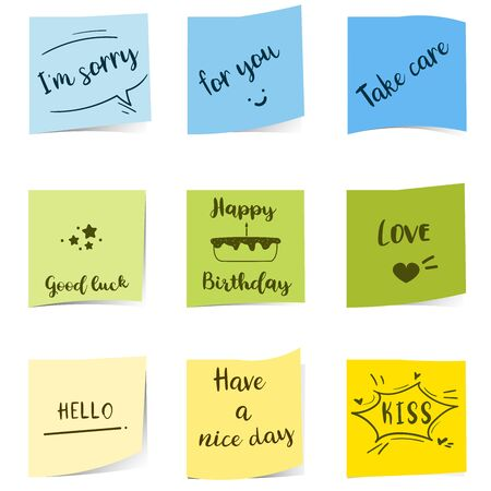 Colorful sticky notepaper with text on white background