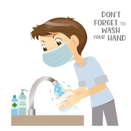 Man wears medical surgical mask washing hand with soap, safe from virus, Covid-19 prevention.