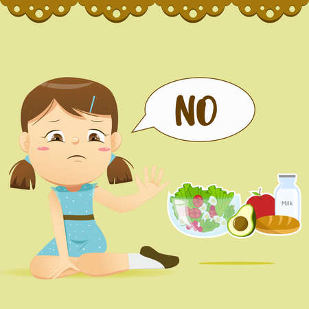 The girl say no for healthy food Illustration