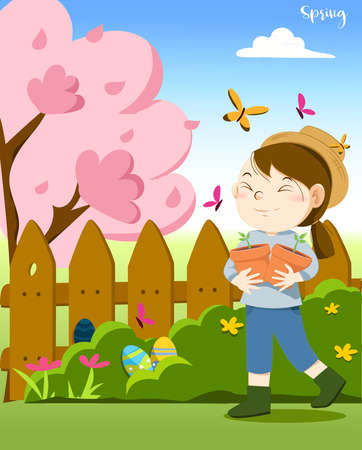Happy girl walking in spring and holding plant pot, finding some Easter egg