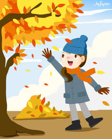 Girl walking in autumn leaves, happy girl throwing leaves and smiling Illustration