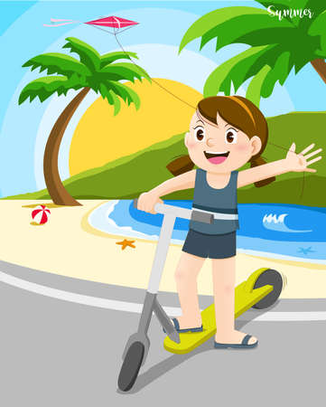 Girl riding kick scooter at beach in hot summer time