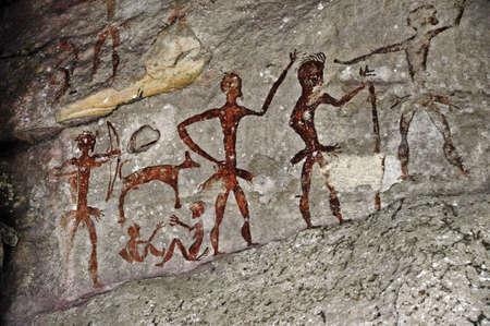 pintura rupestre: Las antiguas pinturas rupestres de la pared Foto de archivo