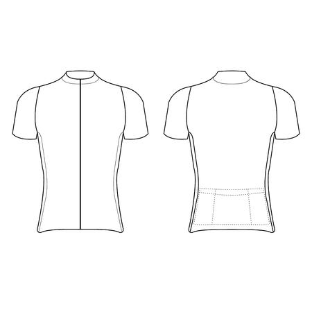 Diseño de camiseta de ciclismo en blanco de la ilustración de vector de camiseta de ciclismo