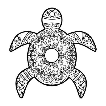 turtle mandalas vector for coloring book   illustration Foto de archivo - 113150782