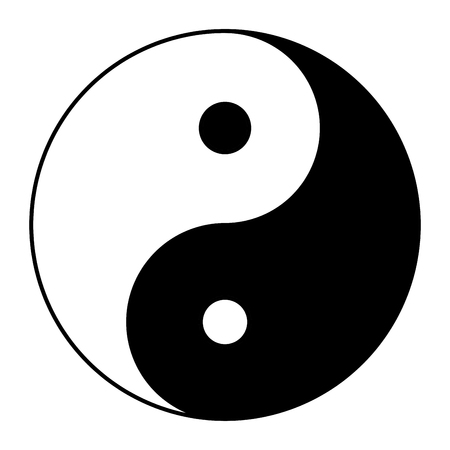 Yin yang symbol of harmony and balance. Flat style icon. Black on background vector illustration 版權商用圖片 - 113150785