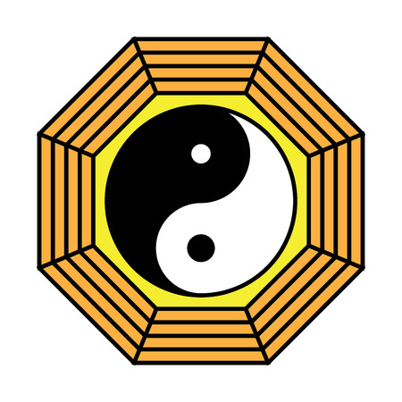 Yin yang symbol of harmony and balance. Flat style icon. Black on background vector illustration