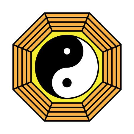 Yin yang symbol of harmony and balance. Flat style icon. Black on background vector illustration