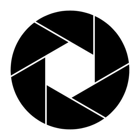 Kameraverschlusssymbol und Verschlussklinge der Kameravektorillustration