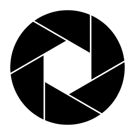 Symbole d'icône d'obturateur de caméra et lame d'obturateur d'illustration vectorielle de caméra