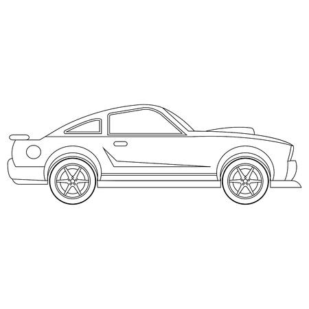 Illustrazione della pagina da colorare dell'automobile di vettore dell'automobile Vettoriali