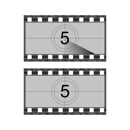 Vintage movie film strip with countdown border vector illustration