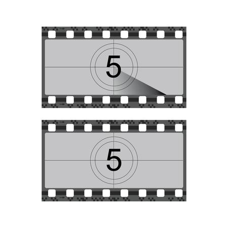 Tira de película de película vintage con ilustración de vector de borde de cuenta regresiva Ilustración de vector