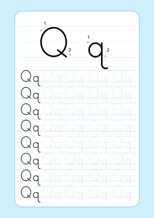 ABC Alphabet letters tracing worksheet with alphabet letters. Basic writing practice for kindergarten kids A4 paper ready to print vector