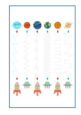 Vector de juego Tracing Lines para preescolar o jardín de infantes y educación especial. Trazar líneas para desarrollar la motricidad fina Ilustración de vector