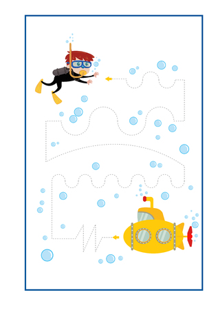 Tracing Lines game vector for preschool or kindergarten and special Education. Tracing Lines for developing finemotor skills