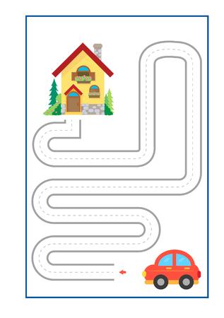 Vector de juego Tracing Lines para preescolar o jardín de infantes y educación especial. Desarrollar la motricidad fina. Es genial para principiantes Ilustración de vector