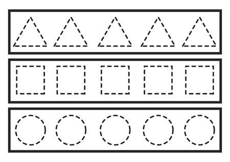 Vector de líneas de rastreo para preescolar o jardín de infantes y educación especial. Desarrollar la motricidad fina. Es genial para principiantes Ilustración de vector