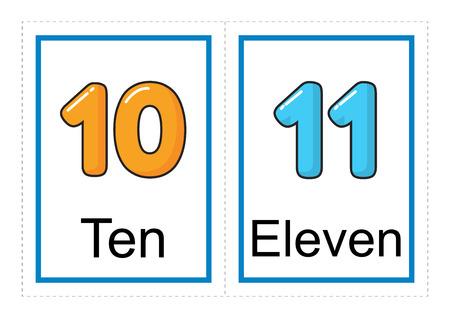 Druckbare Karteikartensammlung für Zahlen und ihre Namen für Vorschul- / Kindergartenkinder | lass uns Zahlenillustration lernen learn