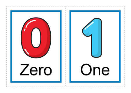 Afdrukbare flashkaartverzameling voor cijfers en hun namen voor kleuters / kleuters   laten we cijfers leren illustratie